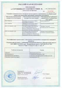 Сертификат пожарной безопасности на пенополистирол KNAUF Therm2