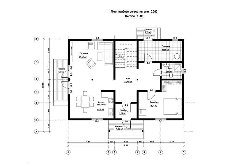 План первого этажа дома из СИП панелей Базель