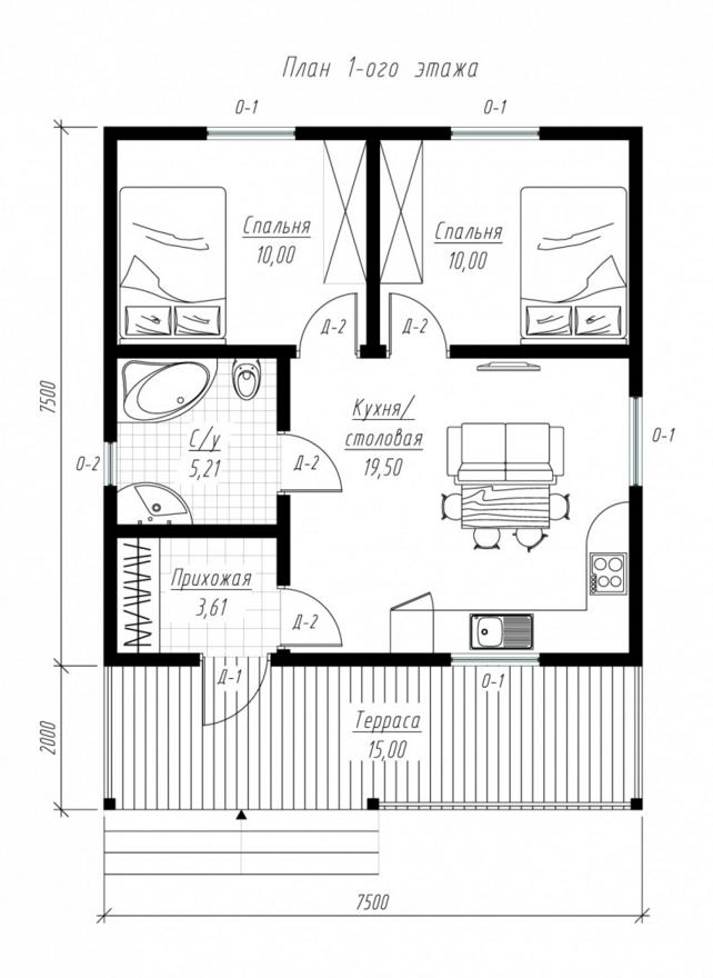 План первого этажа дома из СИП панелей Ладога