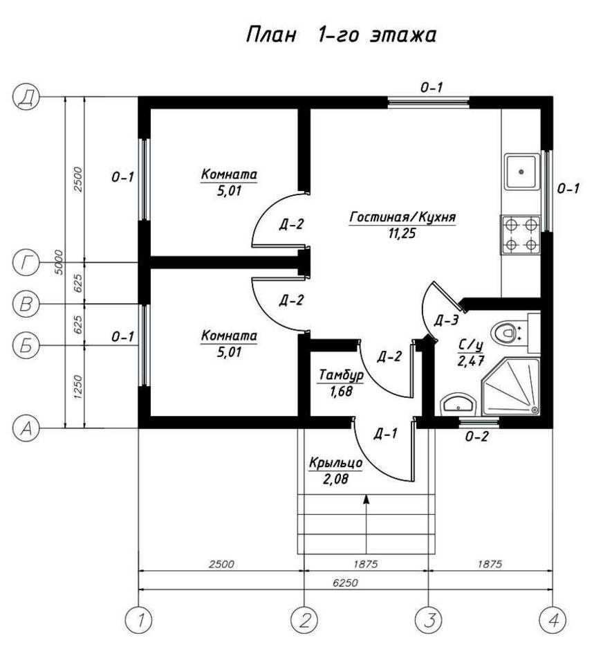 План первого этажа дома из СИП панелей Монако