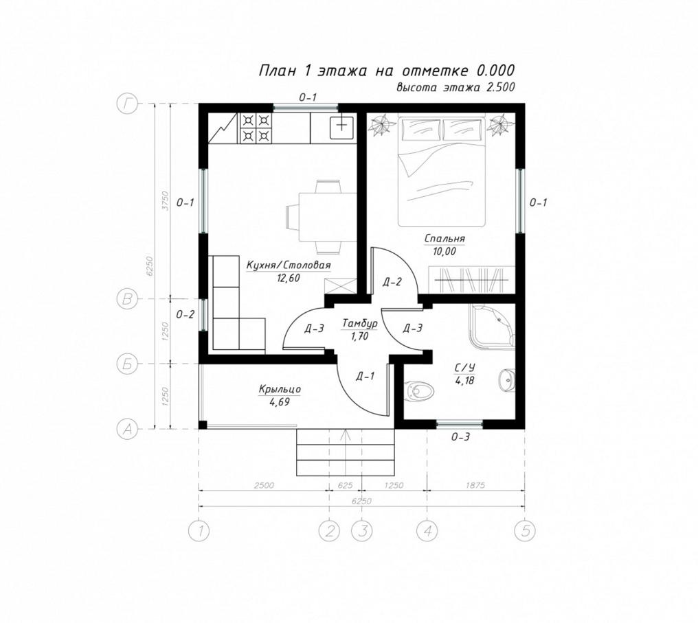План первого этажа дома из СИП панелей Лион