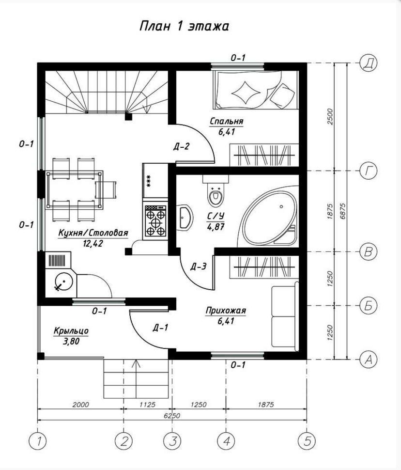 План первого этажа дома из СИП панелей Остин