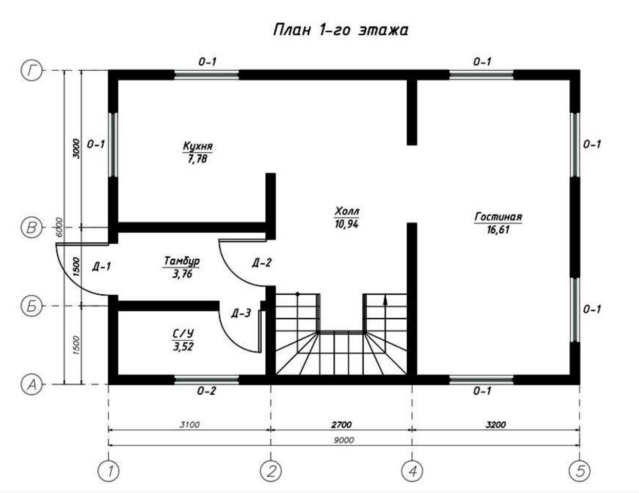 План первого этажа дома из СИП панелей Мурман