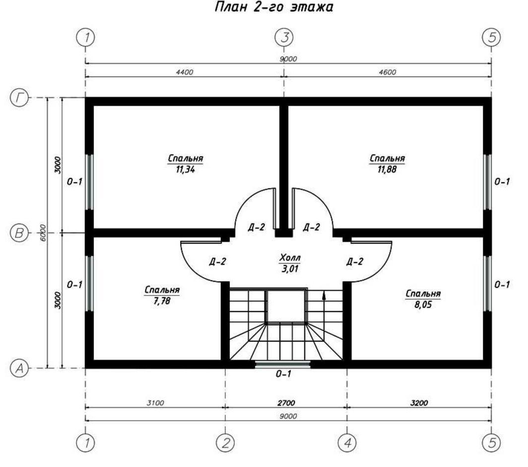 План второго этажа дома из СИП панелей  Мурман