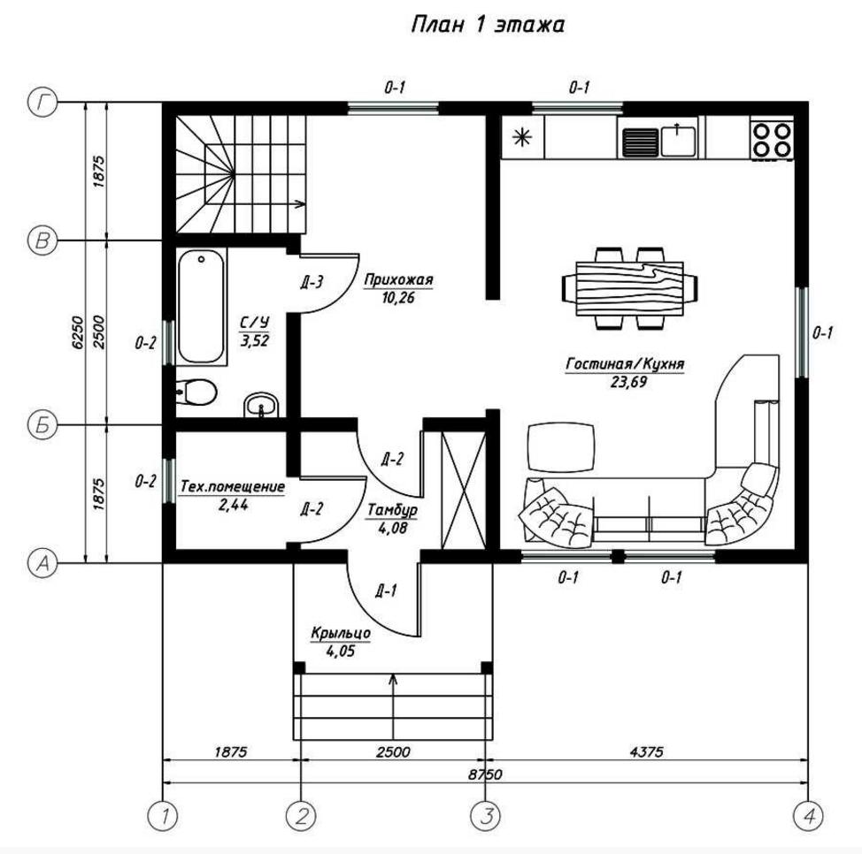 План первого этажа дома из СИП панелей Иматра