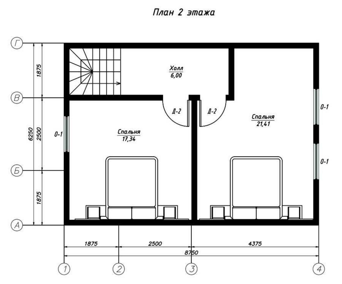 План второго этажа дома из СИП панелей  Иматра