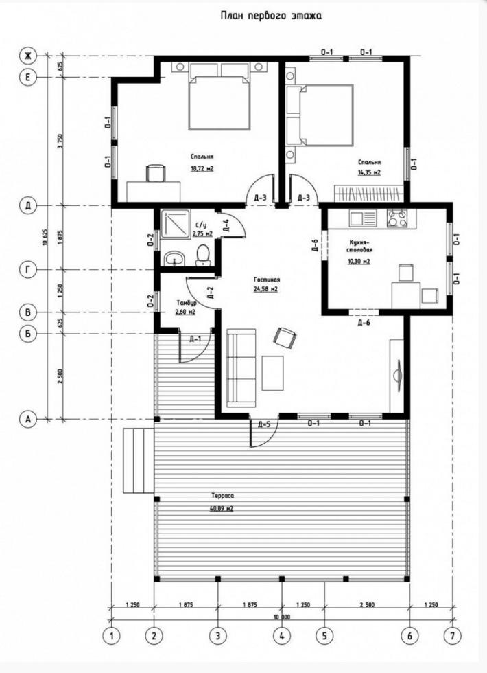 План первого этажа дома из СИП панелей Кёльн