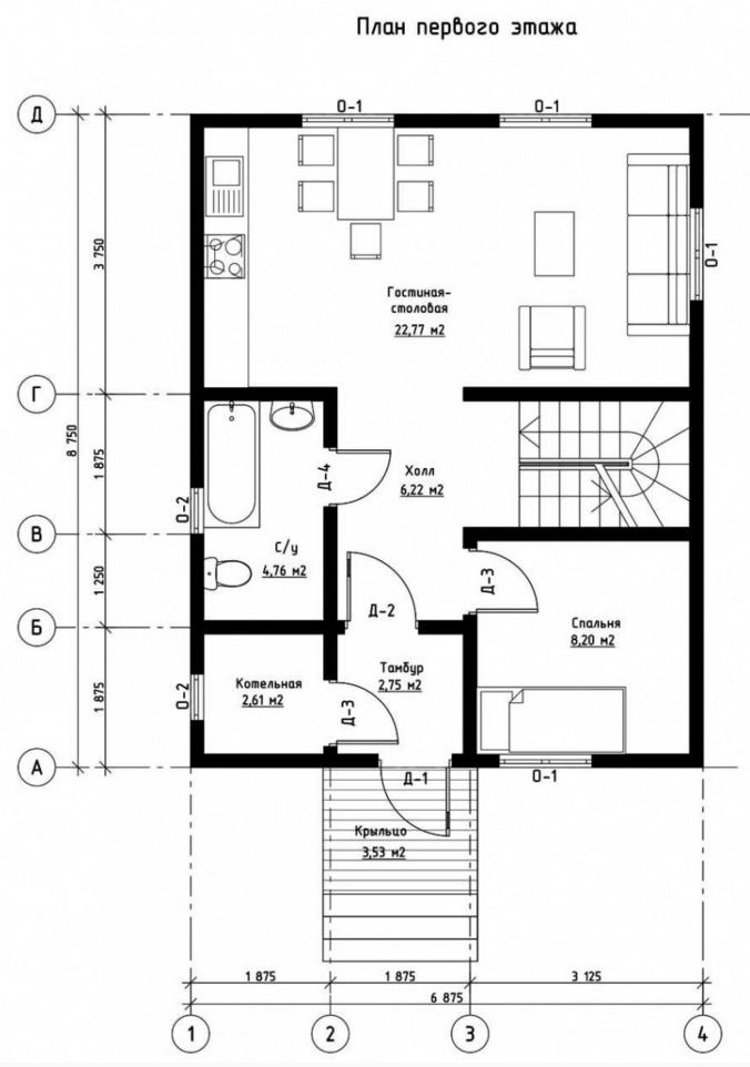 План первого этажа дома из СИП панелей Ремансо