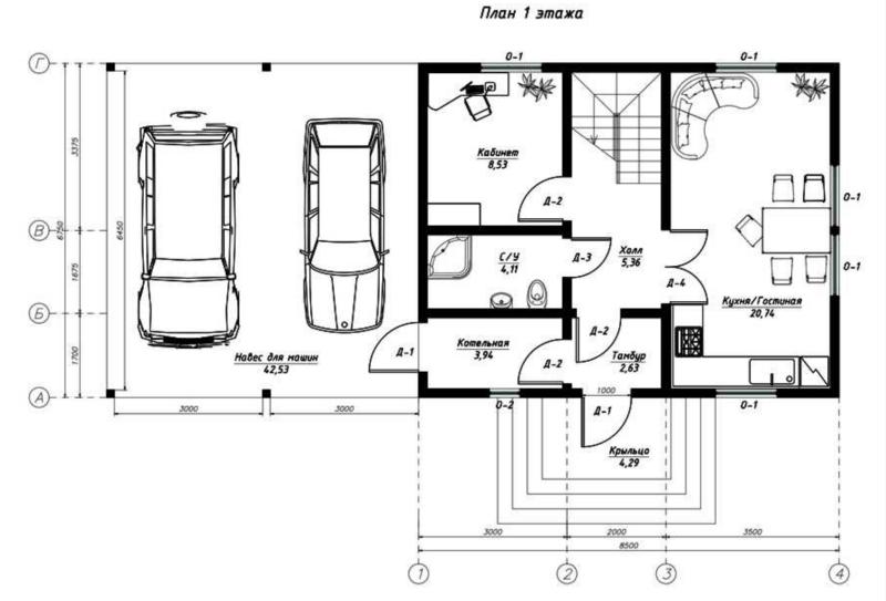 План первого этажа дома из СИП панелей Прима