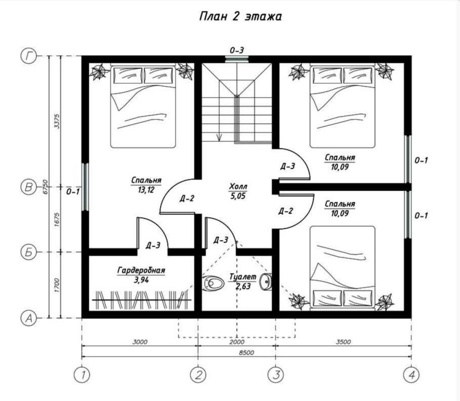 План второго этажа дома из СИП панелей  Прима