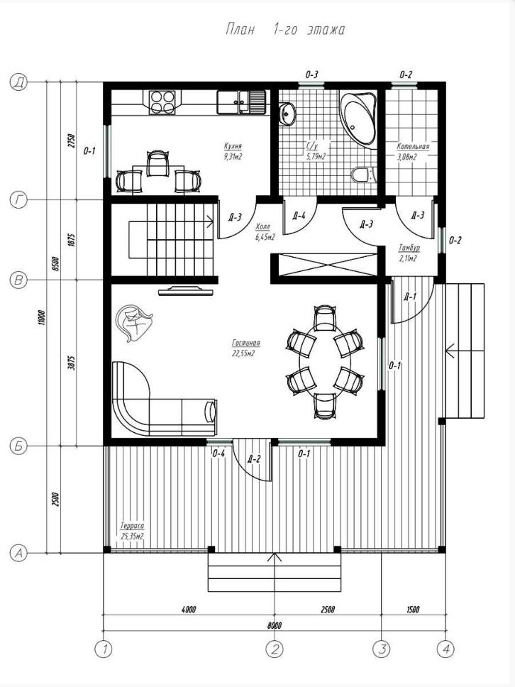 План первого этажа дома из СИП панелей Бавария