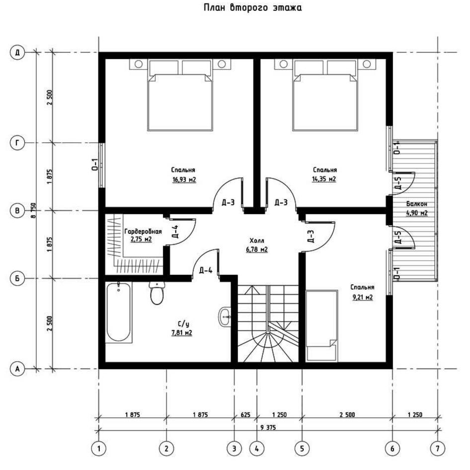 План второго этажа дома из СИП панелей  Престиж