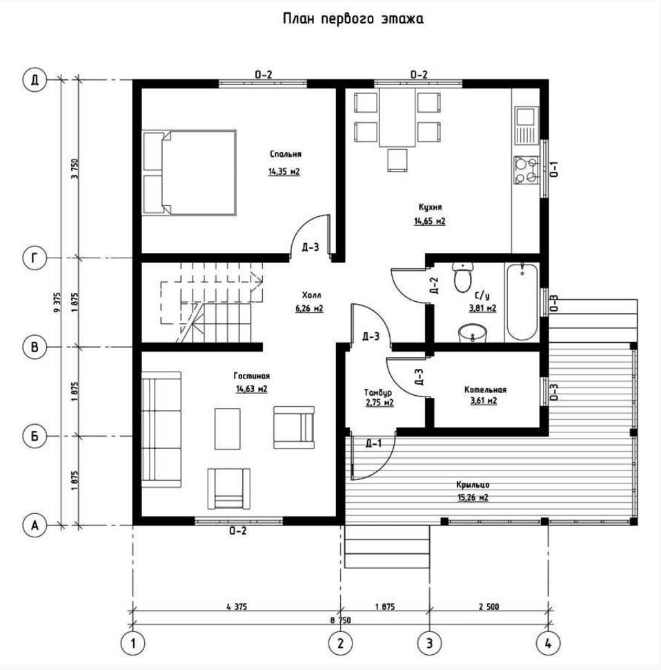 План первого этажа дома из СИП панелей Империя