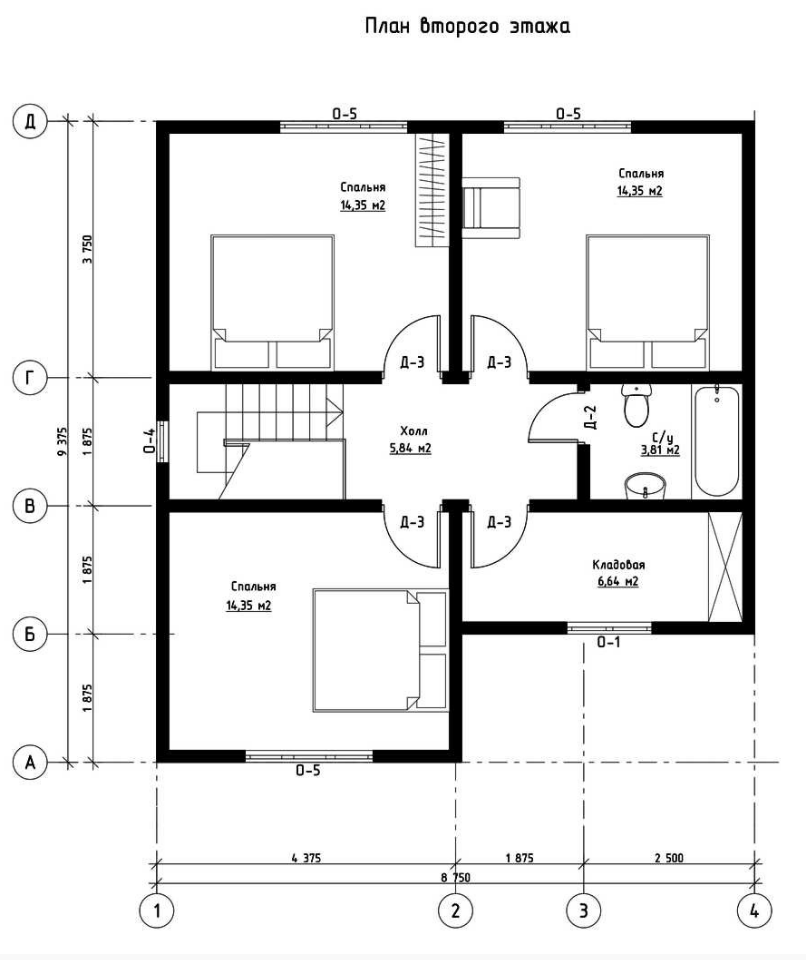 План второго этажа дома из СИП панелей  Империя