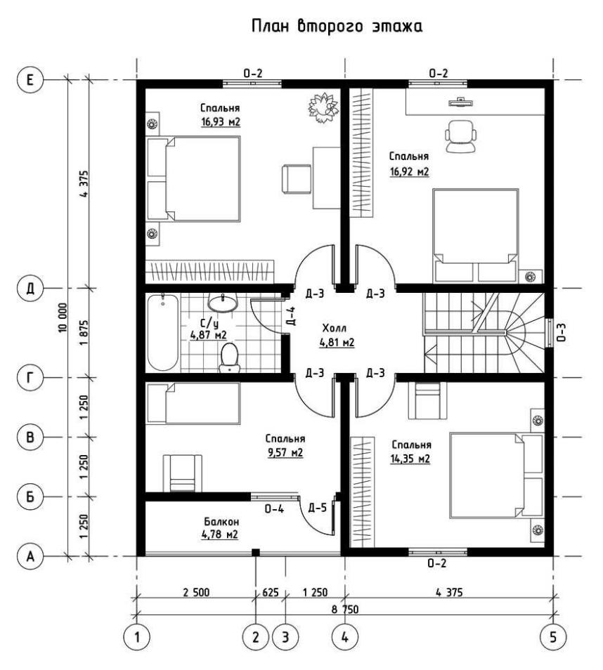 План второго этажа дома из СИП панелей  Глория