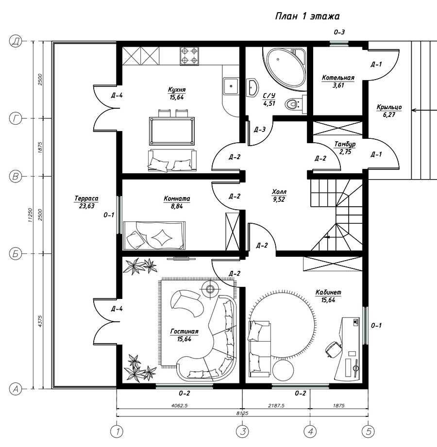 План первого этажа дома из СИП панелей Альянс