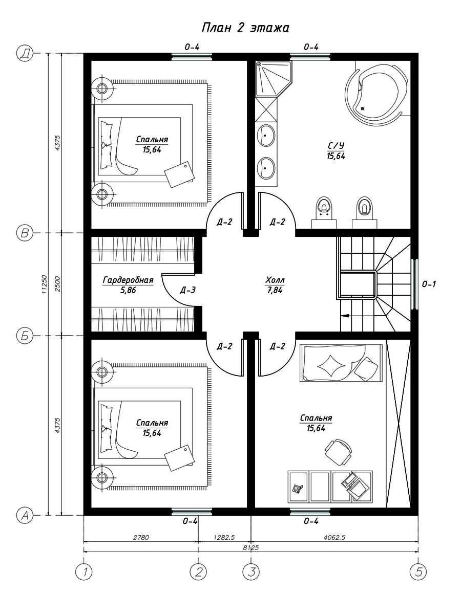План второго этажа дома из СИП панелей  Альянс