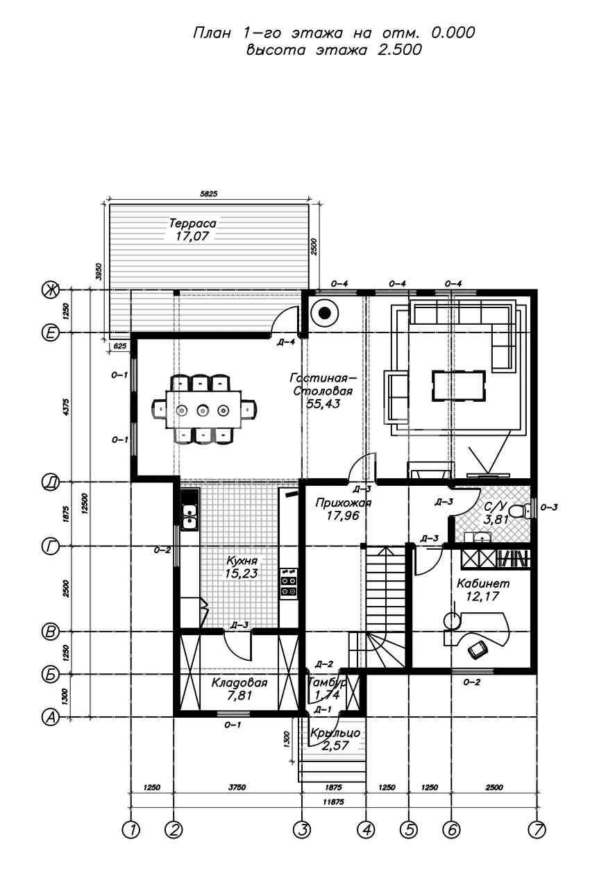 План первого этажа дома из СИП панелей Астрид