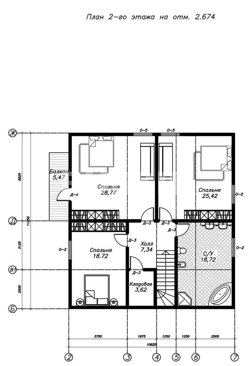 План второго этажа дома из СИП панелей  Астрид