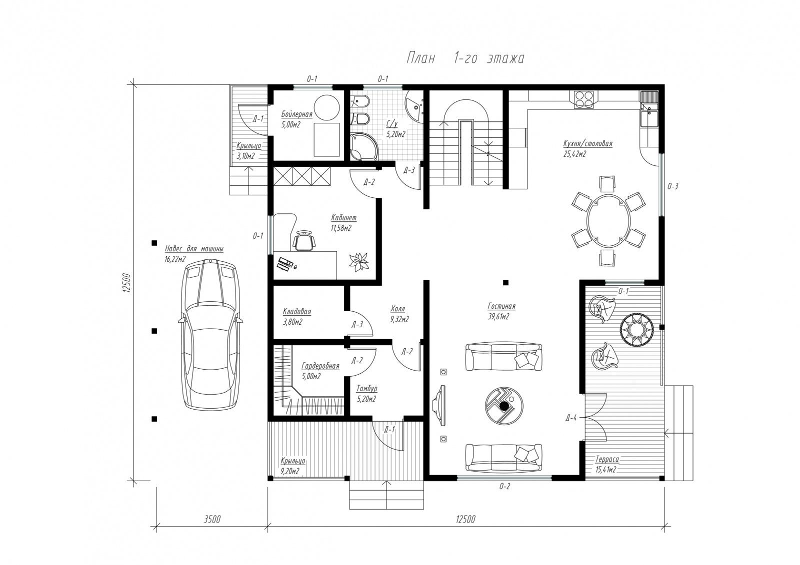 План первого этажа дома из СИП панелей Авиньон