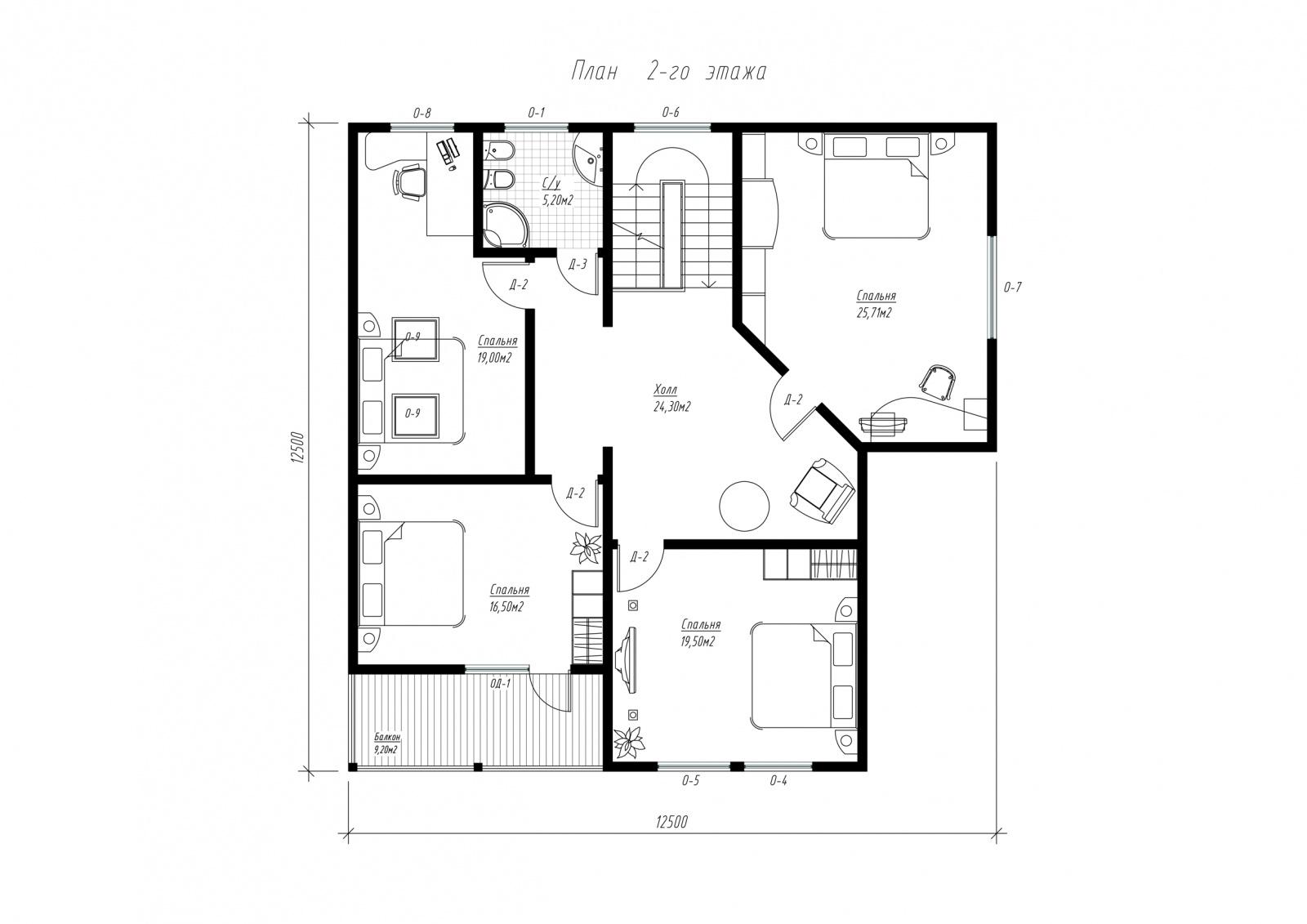 План второго этажа дома из СИП панелей  Авиньон