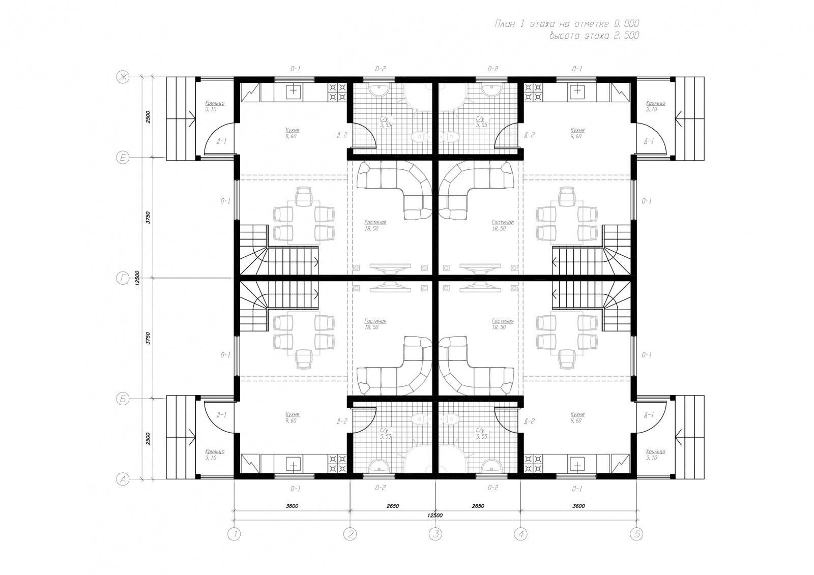 План первого этажа дома из СИП панелей Берн