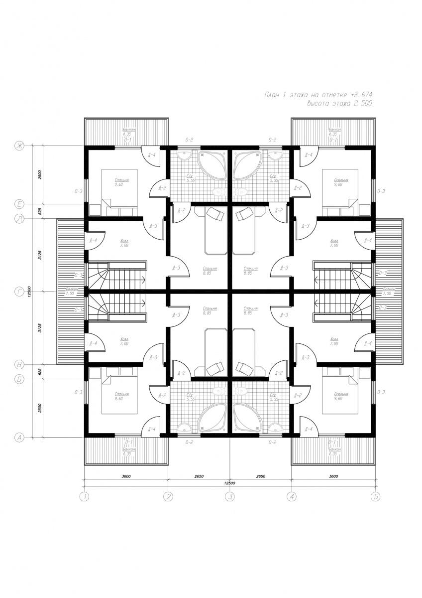 План второго этажа дома из СИП панелей  Берн