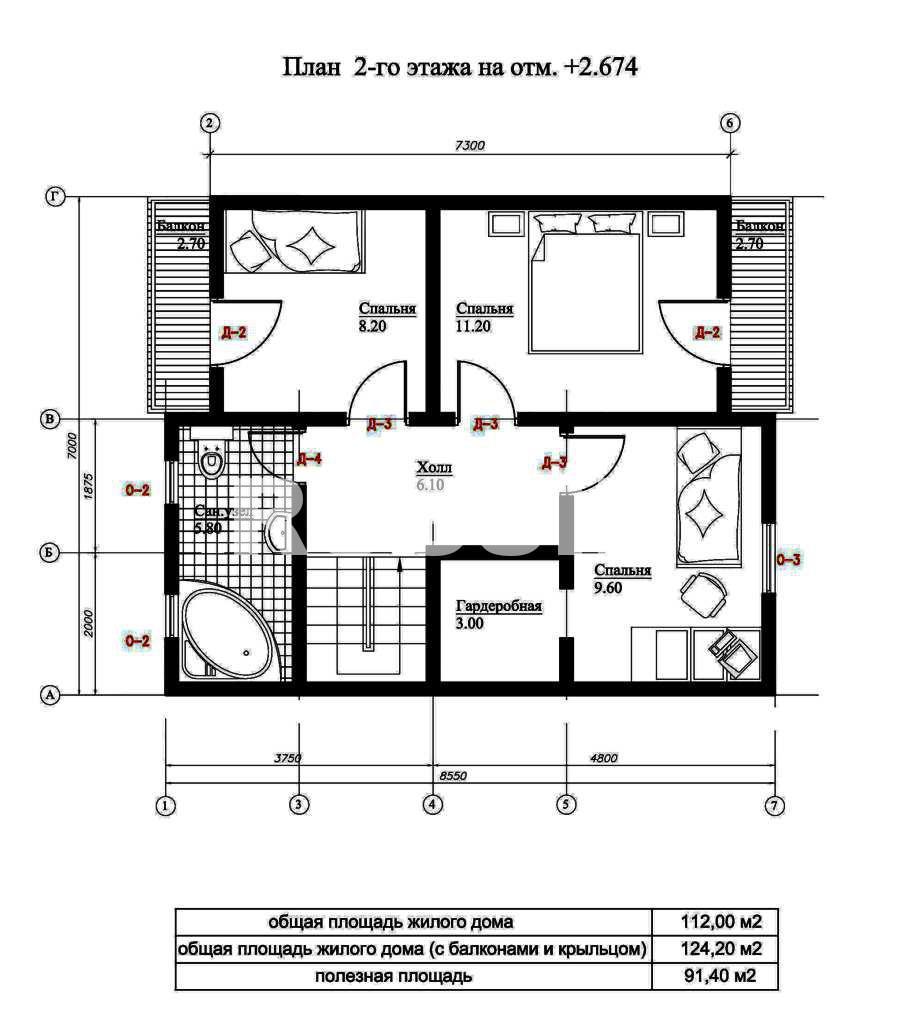 План второго этажа дома из СИП панелей  Комфорт