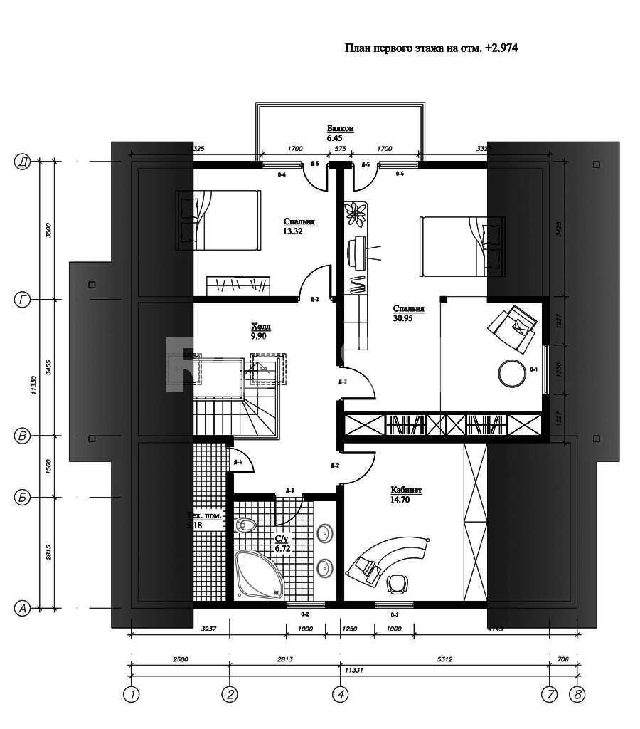 План второго этажа дома из СИП панелей  Селеста