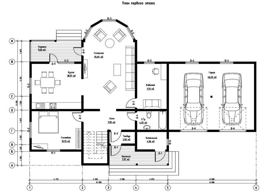 План первого этажа дома из СИП панелей Элитный