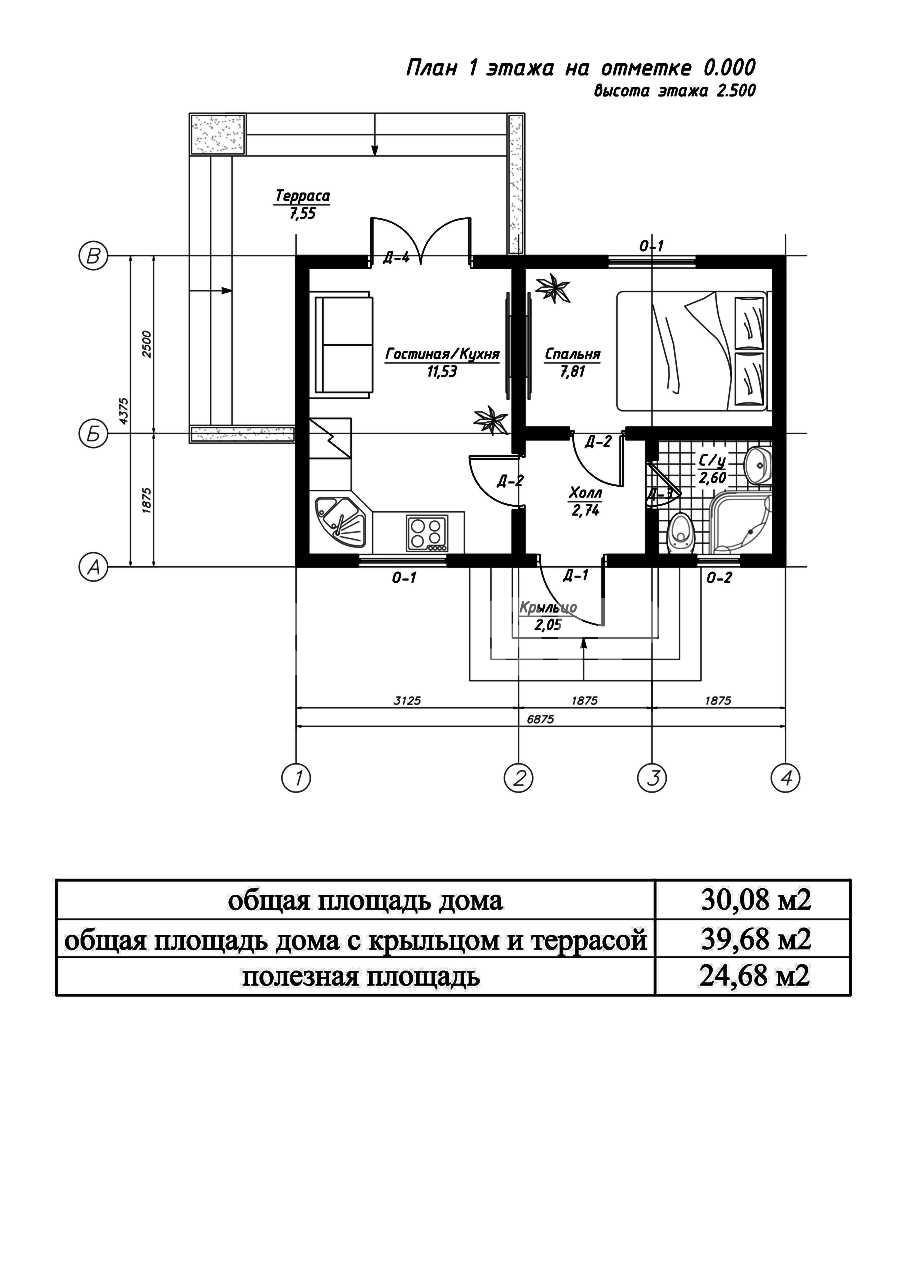 План первого этажа дома из СИП панелей Эрика