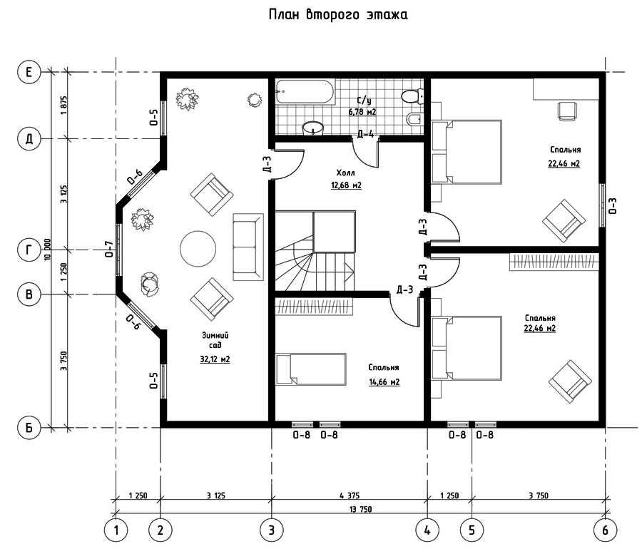 План второго этажа дома из СИП панелей  Филадельфия
