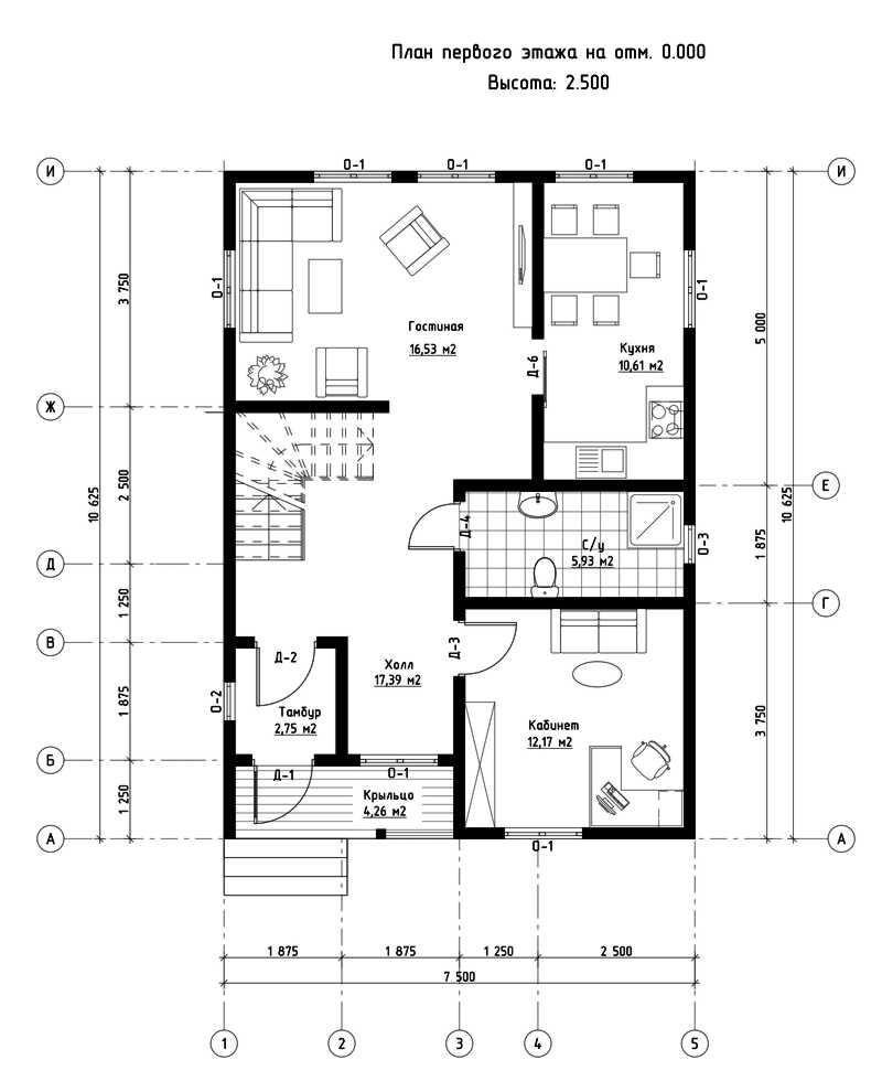 План первого этажа дома из СИП панелей Ганновер