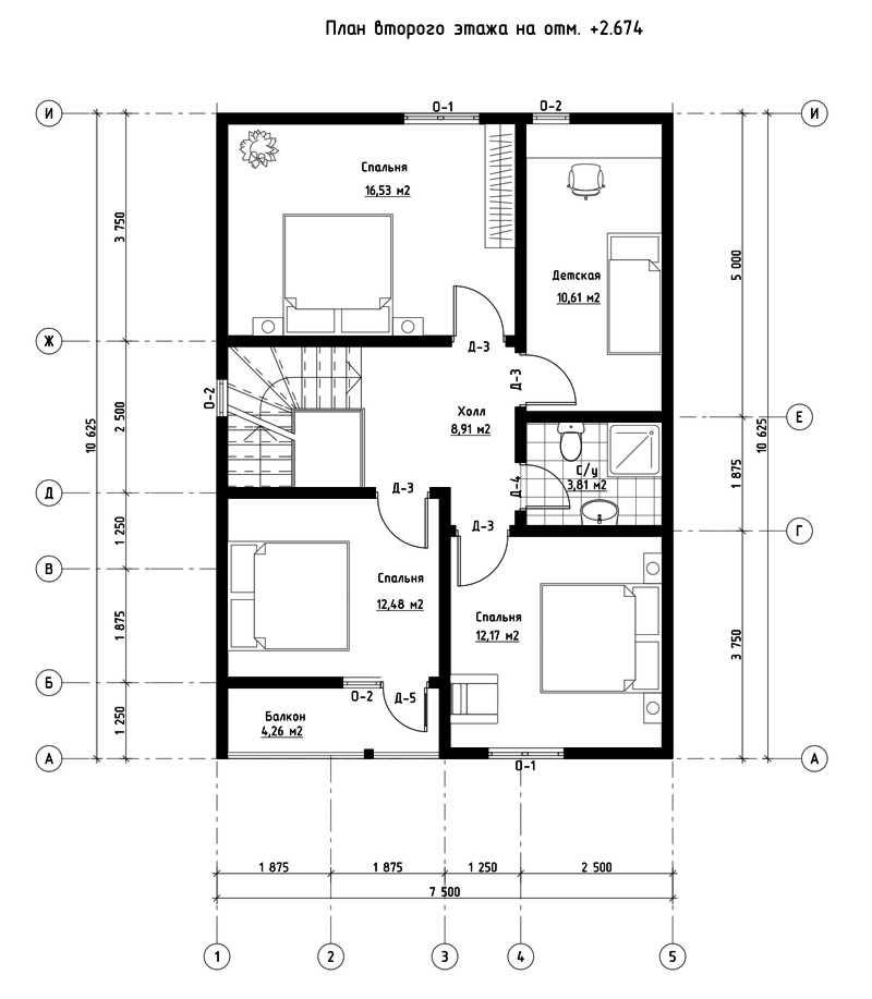 План второго этажа дома из СИП панелей  Ганновер