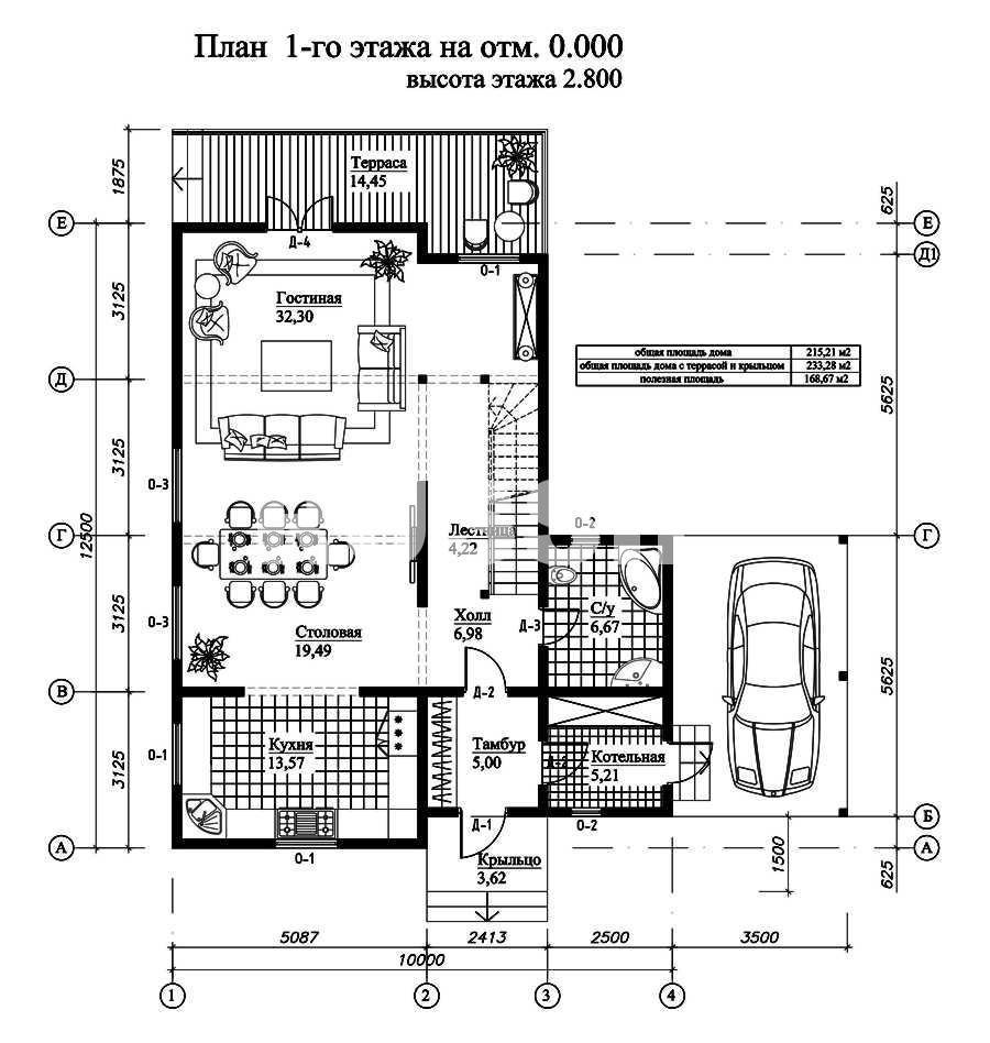 План первого этажа дома из СИП панелей Гренобль