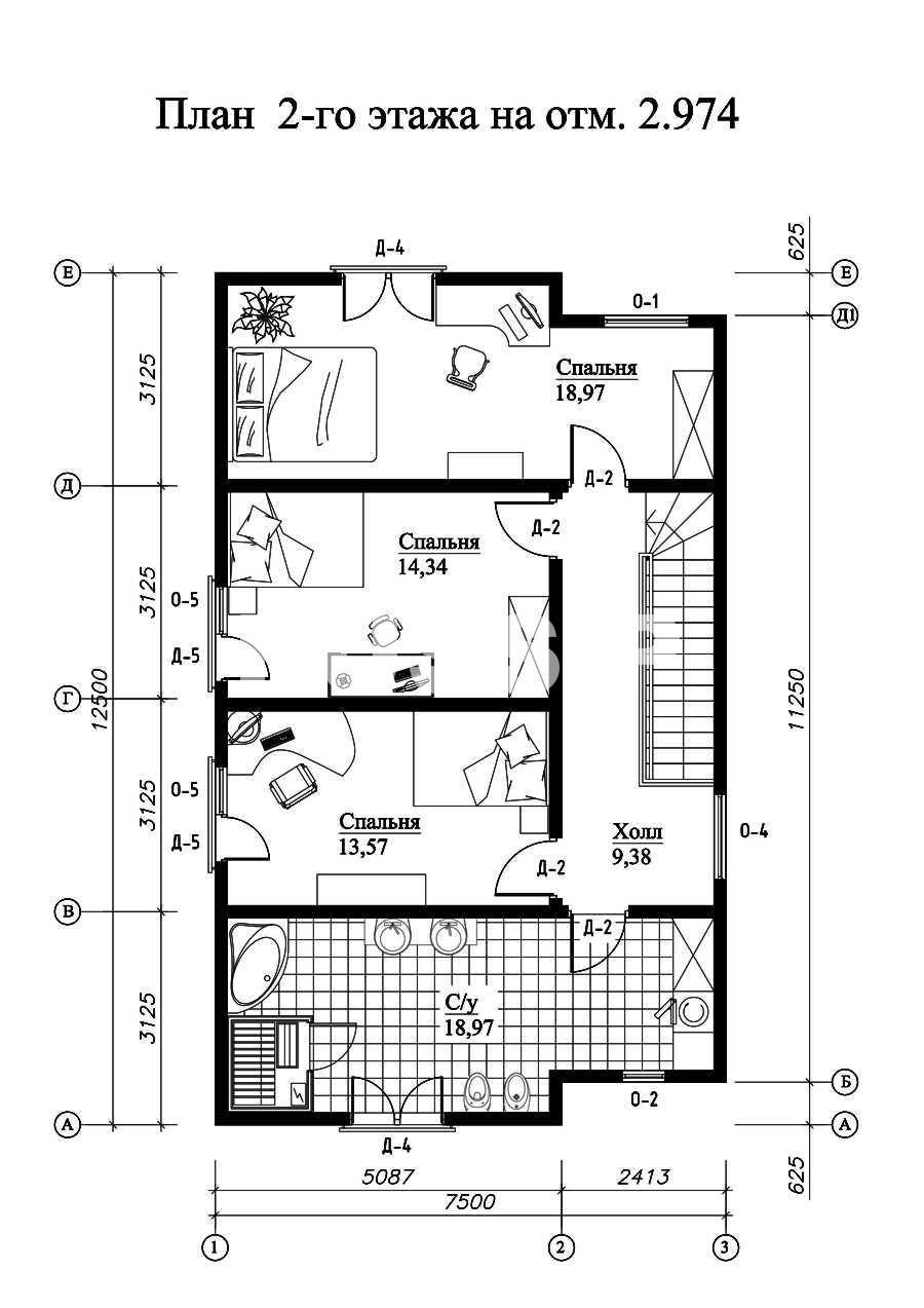 План второго этажа дома из СИП панелей  Гренобль