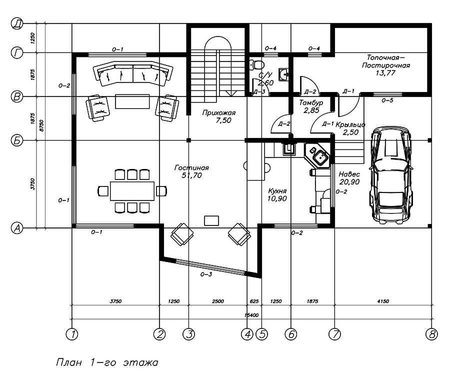 План первого этажа дома из СИП панелей Хай-Тек