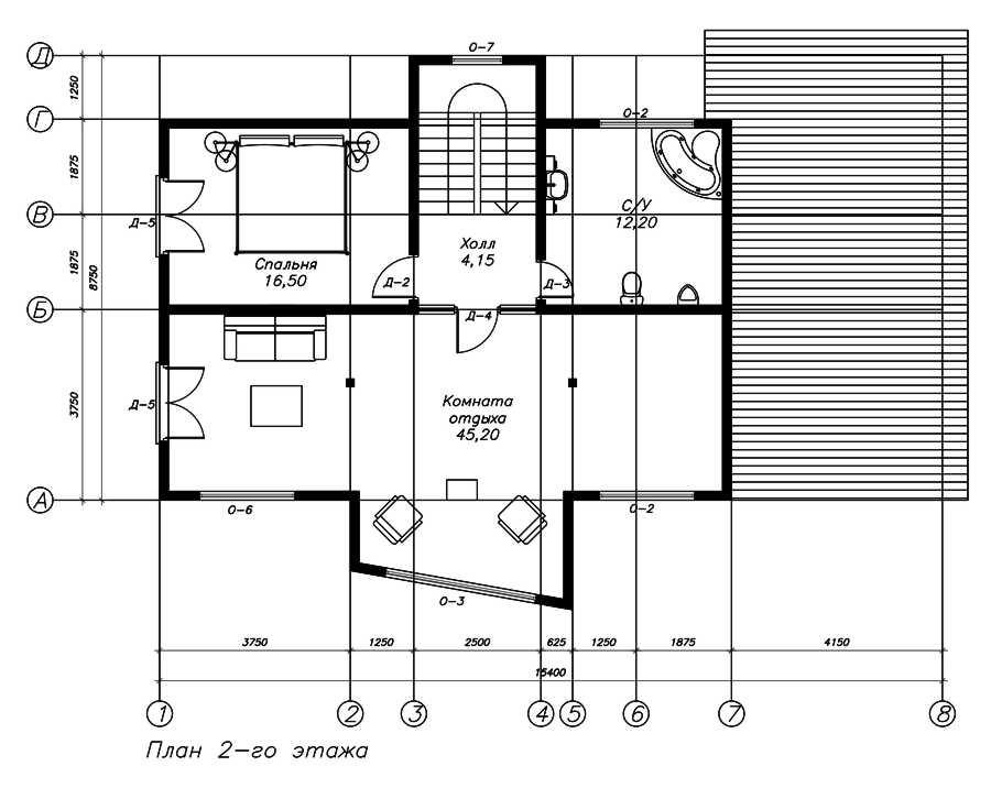 План второго этажа дома из СИП панелей  Хай-Тек