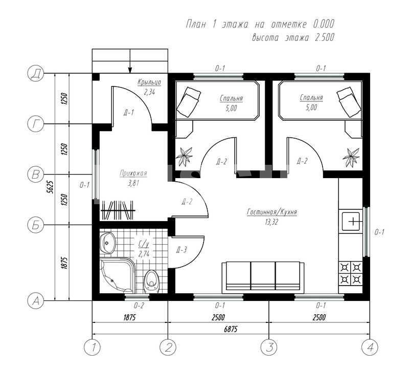 План первого этажа дома из СИП панелей Айдахо