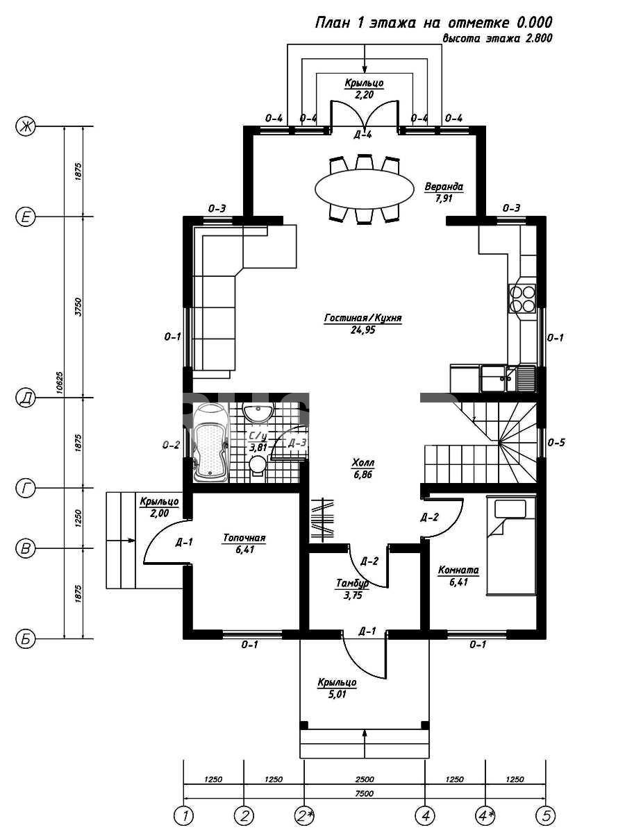 План первого этажа дома из СИП панелей Катерина