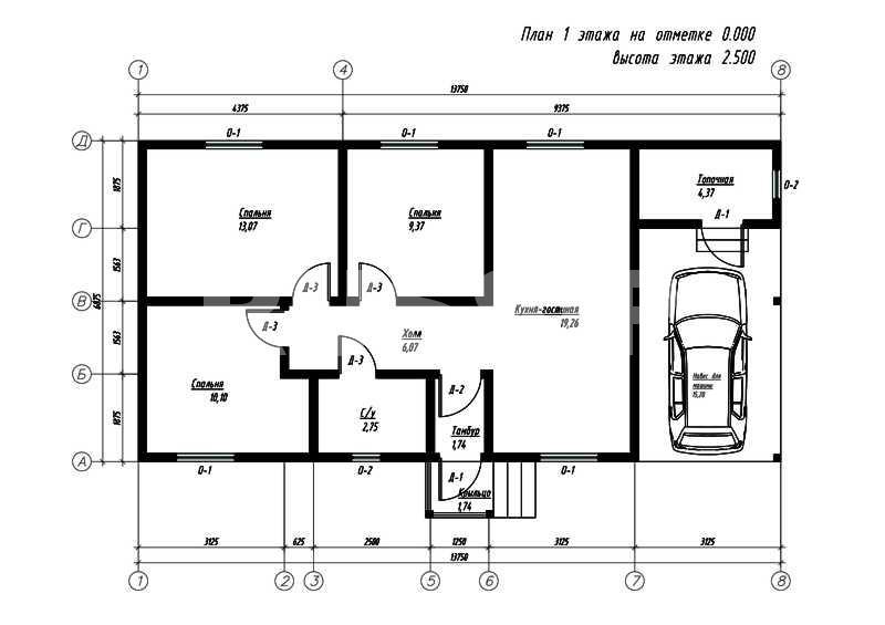 План первого этажа дома из СИП панелей Клайпеда