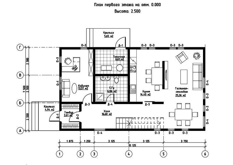 План первого этажа дома из СИП панелей Омега
