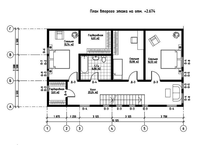 План второго этажа дома из СИП панелей  Омега