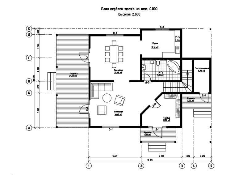 План первого этажа дома из СИП панелей Орлеан