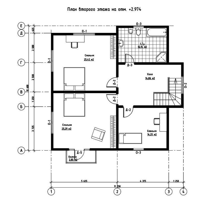 План второго этажа дома из СИП панелей  Орлеан