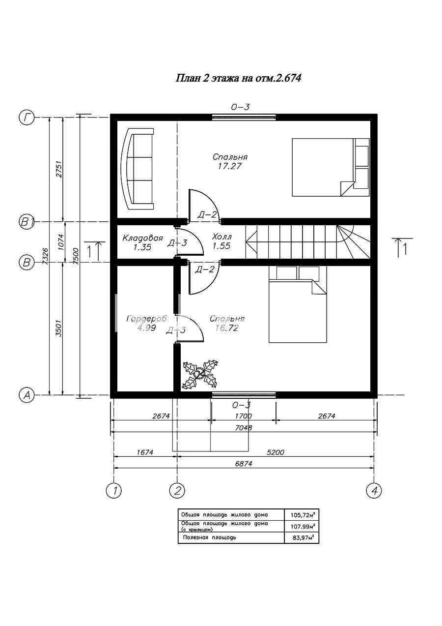 План второго этажа дома из СИП панелей  Бремен
