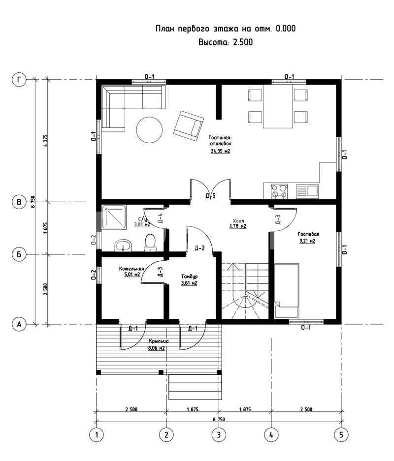 План первого этажа дома из СИП панелей Лейпциг