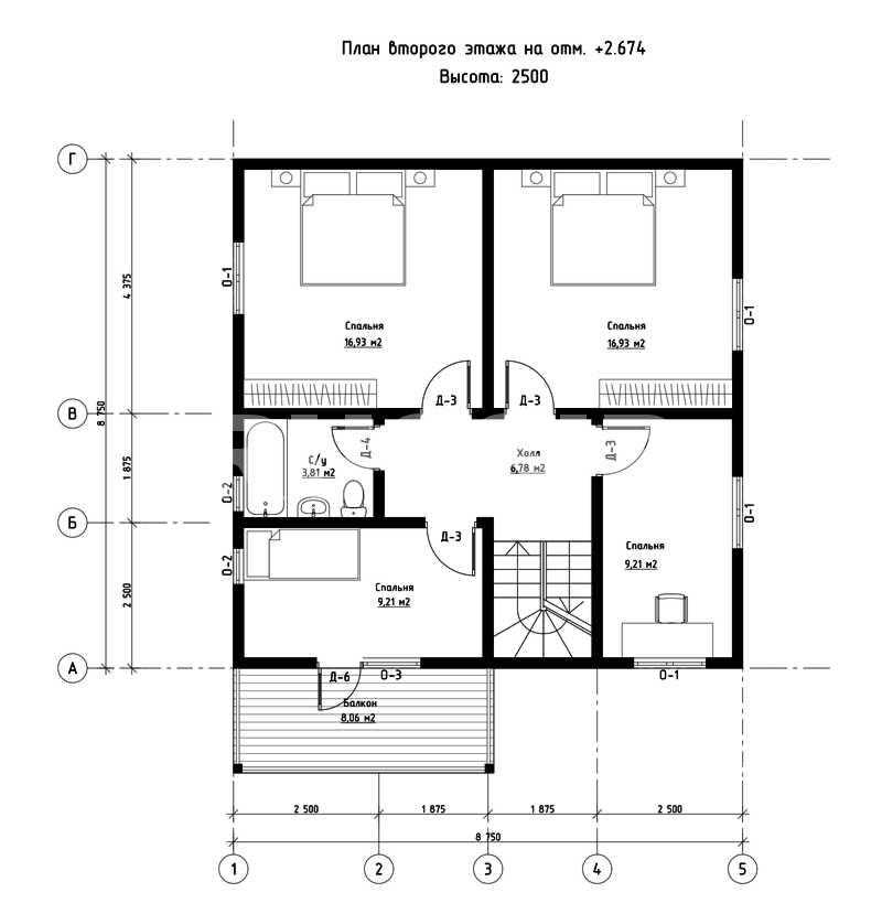 План второго этажа дома из СИП панелей  Лейпциг