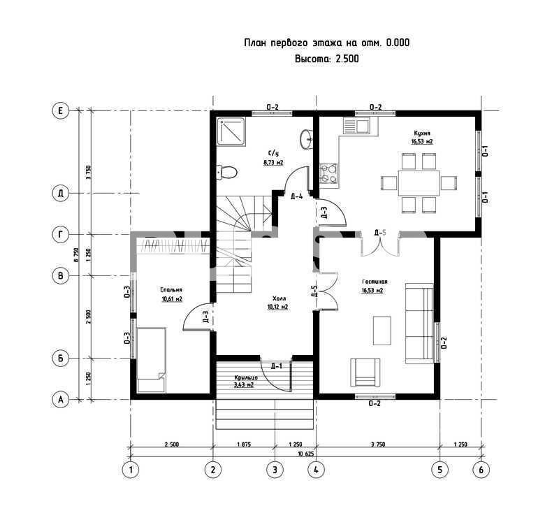 План первого этажа дома из СИП панелей Альпийский