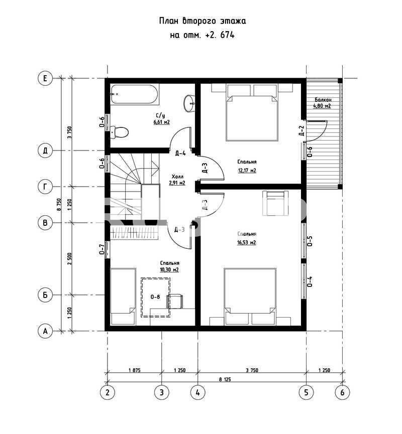 План второго этажа дома из СИП панелей  Альпийский